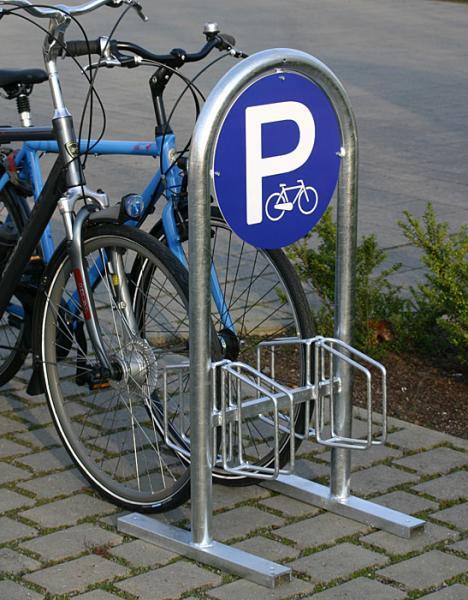 Fahrradstaender mit runder Werbeflaeche 2